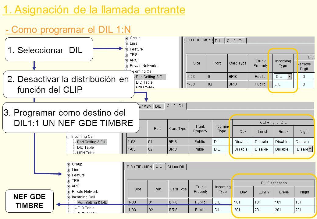 - Como programar el DIL 1:N NEF GDE TIMBRE 1. Seleccionar DIL 2. Desactivar la distribución en función del CLIP 3. Programar como destino del DIL1:1 U