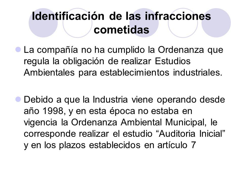 Identificación de las infracciones cometidas La compañía no ha cumplido la Ordenanza que regula la obligación de realizar Estudios Ambientales para es