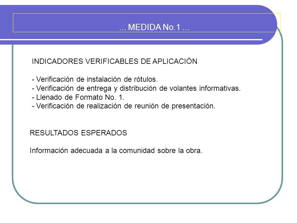 ... MEDIDA No.1... INDICADORES VERIFICABLES DE APLICACIÓN - Verificación de instalación de rótulos. - Verificación de entrega y distribución de volant