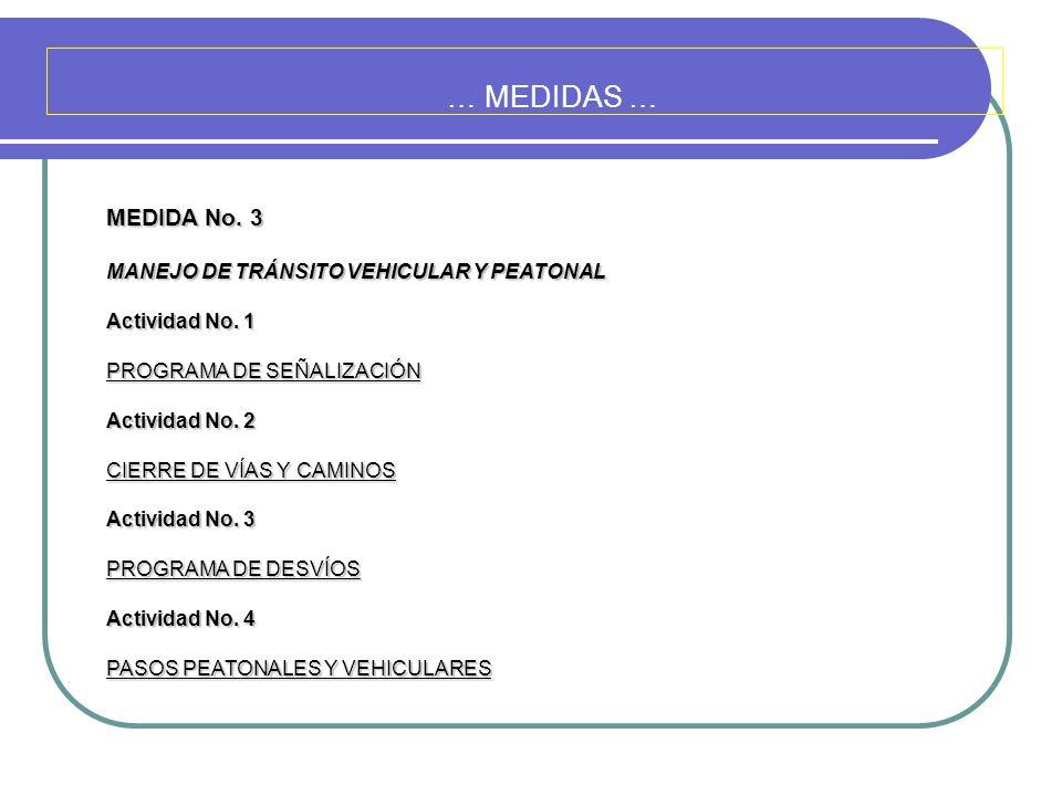 … MEDIDAS … MEDIDA No. 3 MANEJO DE TRÁNSITO VEHICULAR Y PEATONAL Actividad No. 1 PROGRAMA DE SEÑALIZACIÓN Actividad No. 2 CIERRE DE VÍAS Y CAMINOS Act