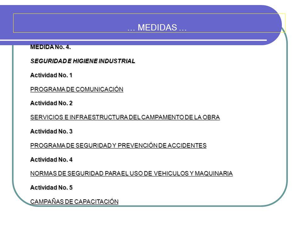 … MEDIDAS … MEDIDA No. 4. SEGURIDAD E HIGIENE INDUSTRIAL Actividad No. 1 PROGRAMA DE COMUNICACIÓN Actividad No. 2 SERVICIOS E INFRAESTRUCTURA DEL CAMP