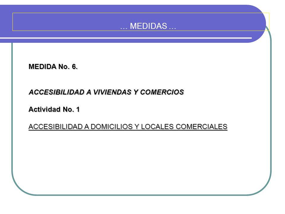… MEDIDAS … MEDIDA No. 6. ACCESIBILIDAD A VIVIENDAS Y COMERCIOS Actividad No. 1 ACCESIBILIDAD A DOMICILIOS Y LOCALES COMERCIALES