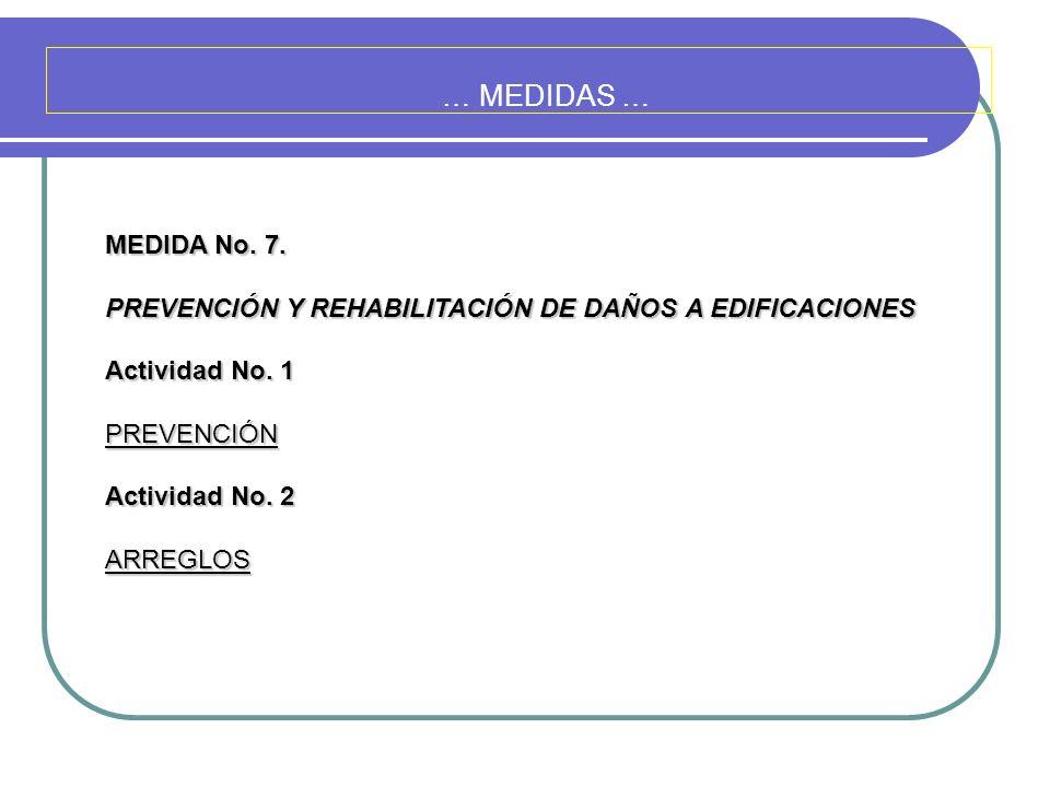 … MEDIDAS … MEDIDA No. 7. PREVENCIÓN Y REHABILITACIÓN DE DAÑOS A EDIFICACIONES Actividad No. 1 PREVENCIÓN Actividad No. 2 ARREGLOS