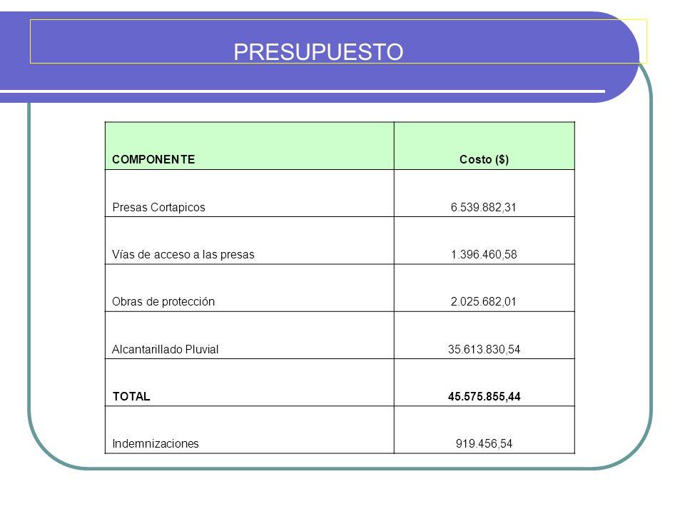 PRESUPUESTO COMPONENTECosto ($) Presas Cortapicos6.539.882,31 Vías de acceso a las presas1.396.460,58 Obras de protección2.025.682,01 Alcantarillado P
