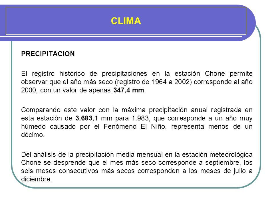 CLIMA PRECIPITACION El registro histórico de precipitaciones en la estación Chone permite observar que el año más seco (registro de 1964 a 2002) corre