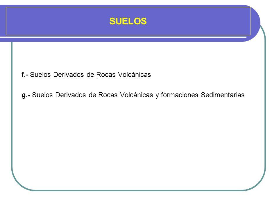 SUELOS f.- Suelos Derivados de Rocas Volcánicas g.- Suelos Derivados de Rocas Volcánicas y formaciones Sedimentarias.