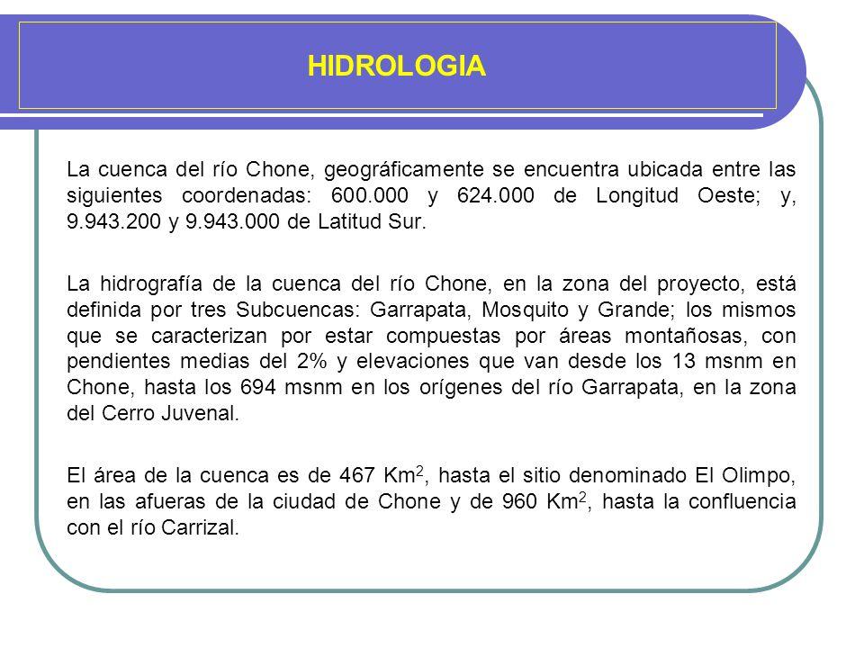 HIDROLOGIA La cuenca del río Chone, geográficamente se encuentra ubicada entre las siguientes coordenadas: 600.000 y 624.000 de Longitud Oeste; y, 9.9