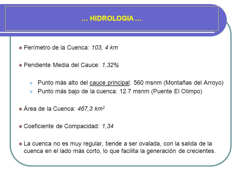 … HIDROLOGIA … Perímetro de la Cuenca: 103, 4 km Pendiente Media del Cauce: 1,32% Punto más alto del cauce principal: 560 msnm (Montañas del Arroyo) P