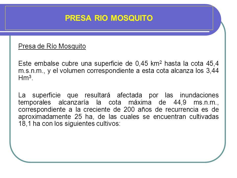PRESA RIO MOSQUITO Presa de Río Mosquito Este embalse cubre una superficie de 0,45 km 2 hasta la cota 45,4 m.s.n.m., y el volumen correspondiente a es