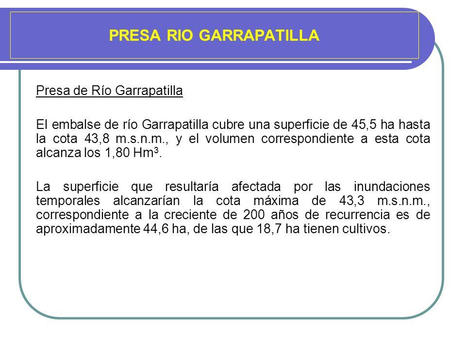 PRESA RIO GARRAPATILLA Presa de Río Garrapatilla El embalse de río Garrapatilla cubre una superficie de 45,5 ha hasta la cota 43,8 m.s.n.m., y el volu