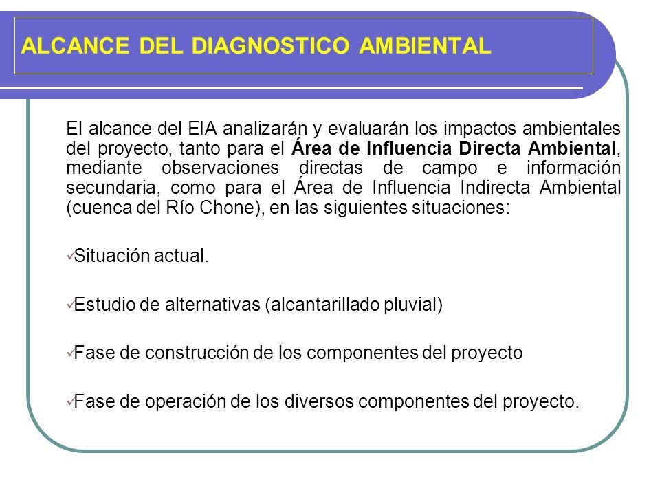 ALCANCE DEL DIAGNOSTICO AMBIENTAL El alcance del EIA analizarán y evaluarán los impactos ambientales del proyecto, tanto para el Área de Influencia Di