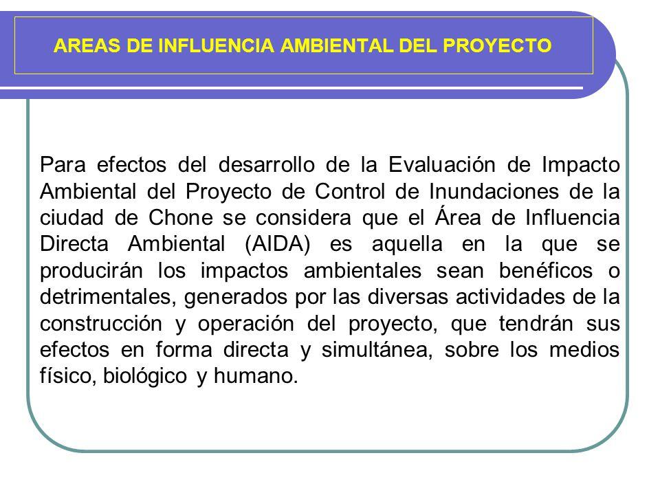 AREAS DE INFLUENCIA AMBIENTAL DEL PROYECTO Para efectos del desarrollo de la Evaluación de Impacto Ambiental del Proyecto de Control de Inundaciones d