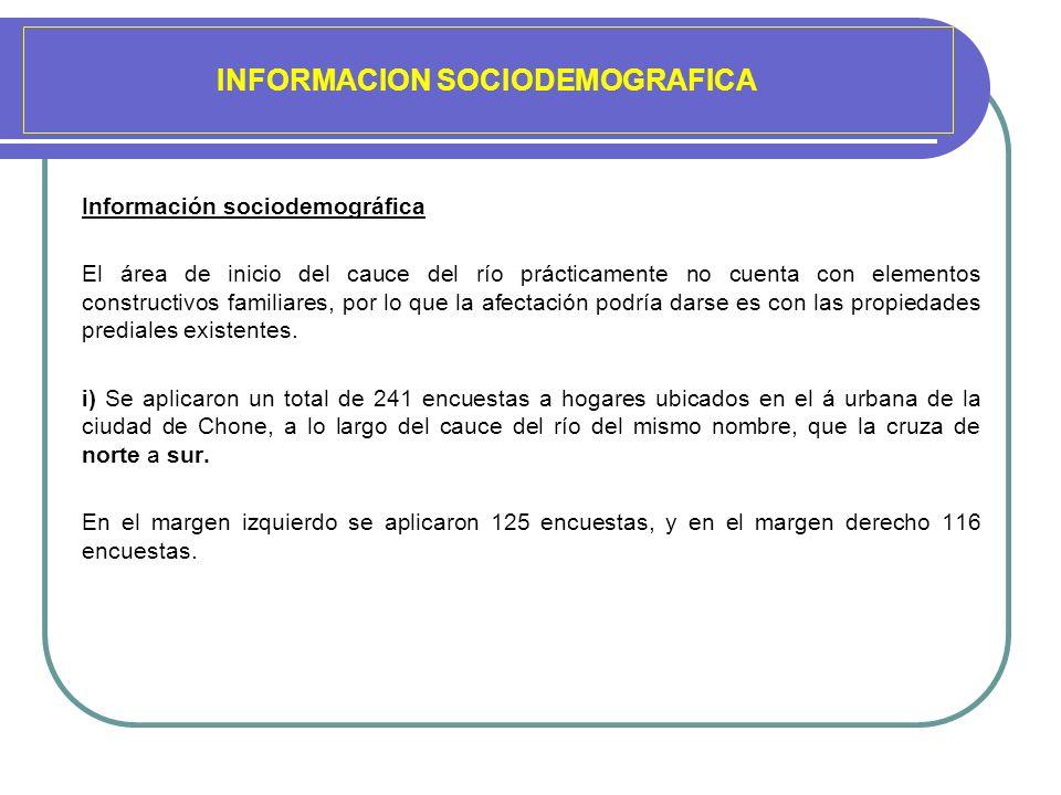 INFORMACION SOCIODEMOGRAFICA Información sociodemográfica El área de inicio del cauce del río prácticamente no cuenta con elementos constructivos fami