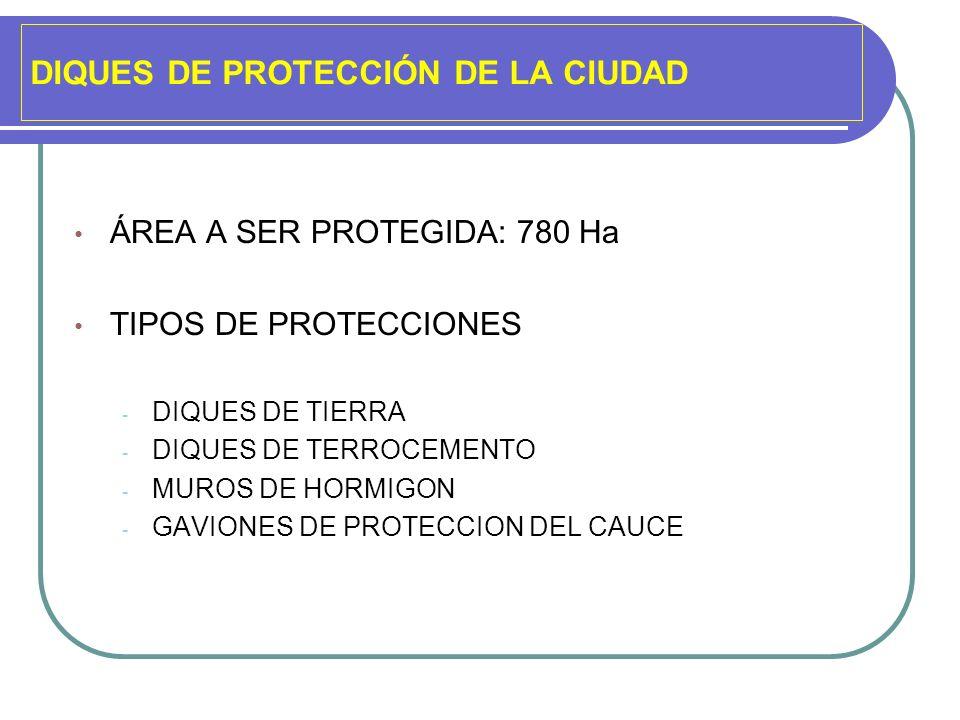 DIQUES DE PROTECCIÓN DE LA CIUDAD ÁREA A SER PROTEGIDA: 780 Ha TIPOS DE PROTECCIONES - DIQUES DE TIERRA - DIQUES DE TERROCEMENTO - MUROS DE HORMIGON -