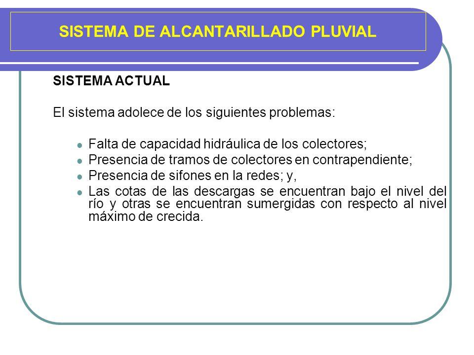 SISTEMA DE ALCANTARILLADO PLUVIAL SISTEMA ACTUAL El sistema adolece de los siguientes problemas: Falta de capacidad hidráulica de los colectores; Pres
