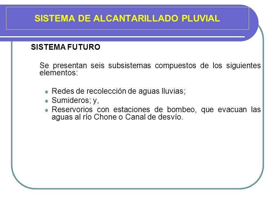 SISTEMA DE ALCANTARILLADO PLUVIAL SISTEMA FUTURO Se presentan seis subsistemas compuestos de los siguientes elementos: Redes de recolección de aguas l