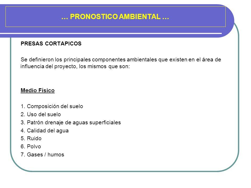 … PRONOSTICO AMBIENTAL … PRESAS CORTAPICOS Se definieron los principales componentes ambientales que existen en el área de influencia del proyecto, lo