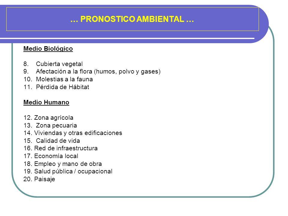 … PRONOSTICO AMBIENTAL … Medio Biológico 8. Cubierta vegetal 9. Afectación a la flora (humos, polvo y gases) 10. Molestias a la fauna 11. Pérdida de H