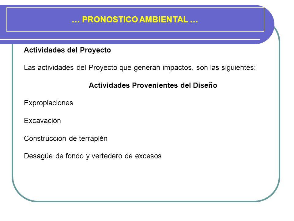 … PRONOSTICO AMBIENTAL … Actividades del Proyecto Las actividades del Proyecto que generan impactos, son las siguientes: Actividades Provenientes del