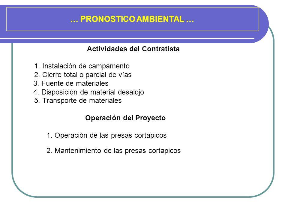 … PRONOSTICO AMBIENTAL … Actividades del Contratista 1. Instalación de campamento 2. Cierre total o parcial de vías 3. Fuente de materiales 4. Disposi