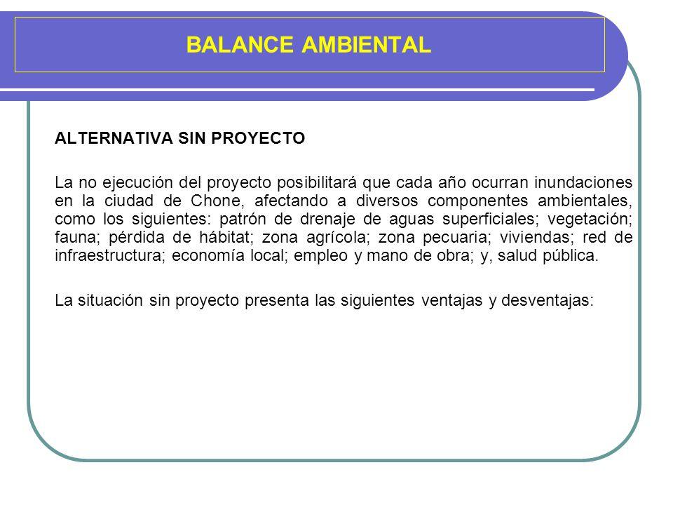 BALANCE AMBIENTAL ALTERNATIVA SIN PROYECTO La no ejecución del proyecto posibilitará que cada año ocurran inundaciones en la ciudad de Chone, afectand