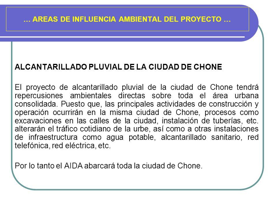 … AREAS DE INFLUENCIA AMBIENTAL DEL PROYECTO … ALCANTARILLADO PLUVIAL DE LA CIUDAD DE CHONE El proyecto de alcantarillado pluvial de la ciudad de Chon