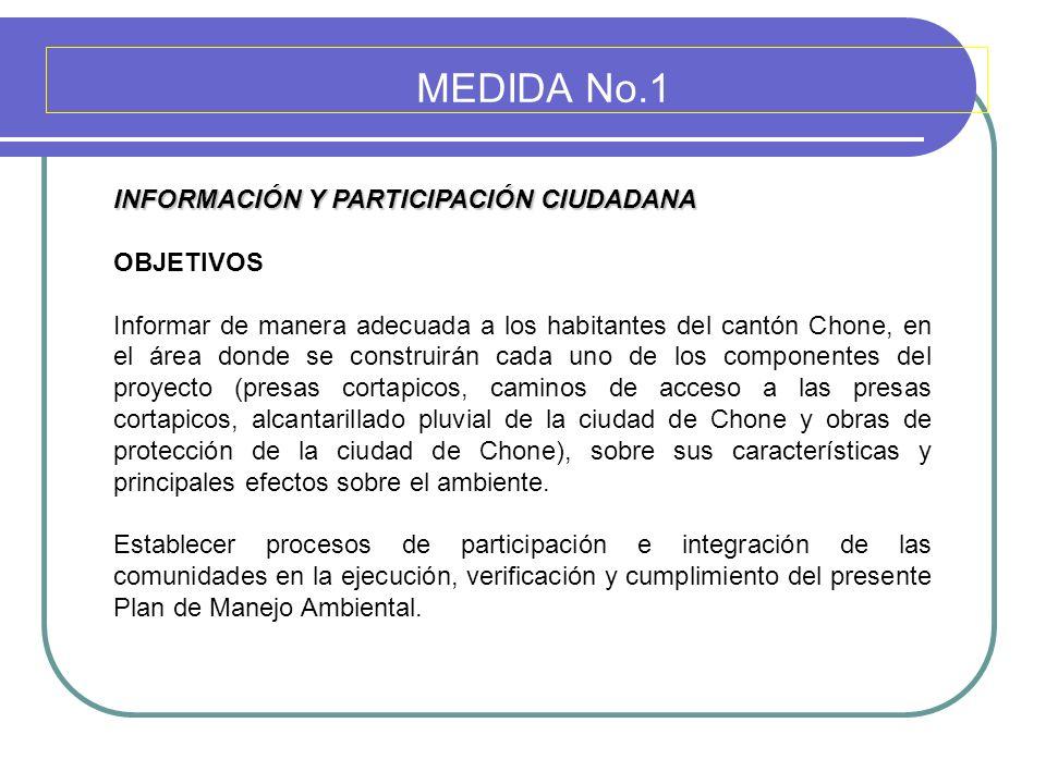 MEDIDA No.1 INFORMACIÓN Y PARTICIPACIÓN CIUDADANA OBJETIVOS Informar de manera adecuada a los habitantes del cantón Chone, en el área donde se constru