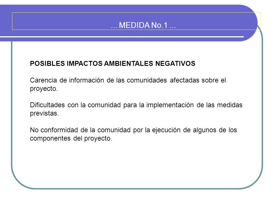 ... MEDIDA No.1... POSIBLES IMPACTOS AMBIENTALES NEGATIVOS Carencia de información de las comunidades afectadas sobre el proyecto. Dificultades con la