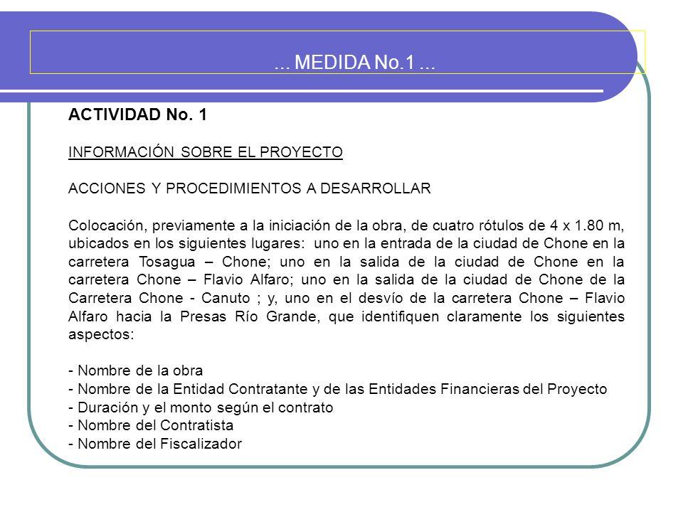 ... MEDIDA No.1... ACTIVIDAD No. 1 INFORMACIÓN SOBRE EL PROYECTO ACCIONES Y PROCEDIMIENTOS A DESARROLLAR Colocación, previamente a la iniciación de la