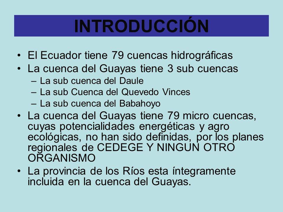 El Ecuador tiene 79 cuencas hidrográficas La cuenca del Guayas tiene 3 sub cuencas –La sub cuenca del Daule –La sub Cuenca del Quevedo Vinces –La sub cuenca del Babahoyo La cuenca del Guayas tiene 79 micro cuencas, cuyas potencialidades energéticas y agro ecológicas, no han sido definidas, por los planes regionales de CEDEGE Y NINGUN OTRO ORGANISMO La provincia de los Ríos esta íntegramente incluida en la cuenca del Guayas.