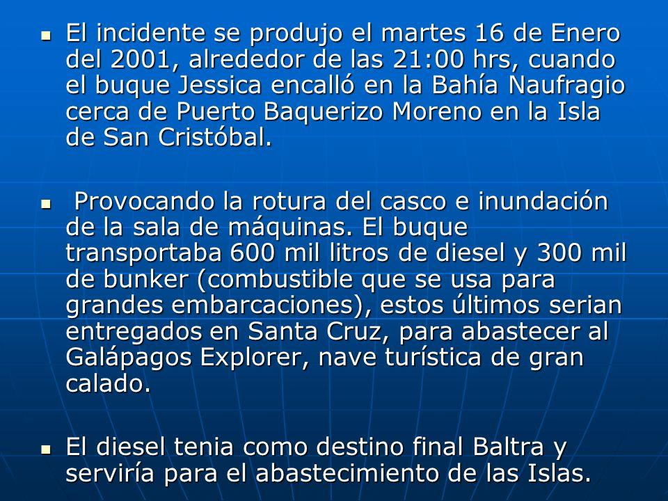 Antecedentes de la tragedia del Buque Jessica La noche del 16 de enero de 2001, el buque-tanque Jessica, carguero de combustible de 65,75 metros de es