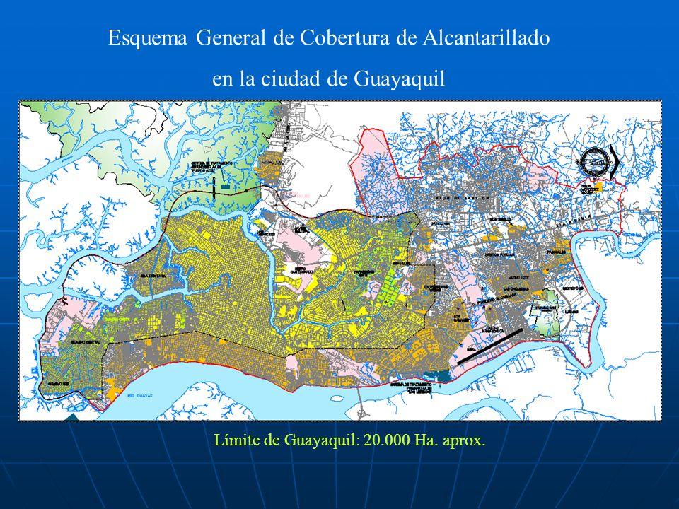 Esquema General de Cobertura de Alcantarillado en la ciudad de Guayaquil Límite de Guayaquil: 20.000 Ha. aprox.