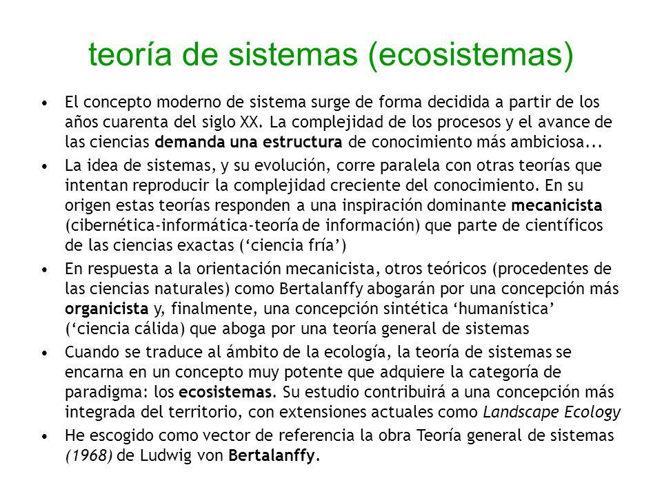 teoría de sistemas (ecosistemas) El concepto moderno de sistema surge de forma decidida a partir de los años cuarenta del siglo XX. La complejidad de