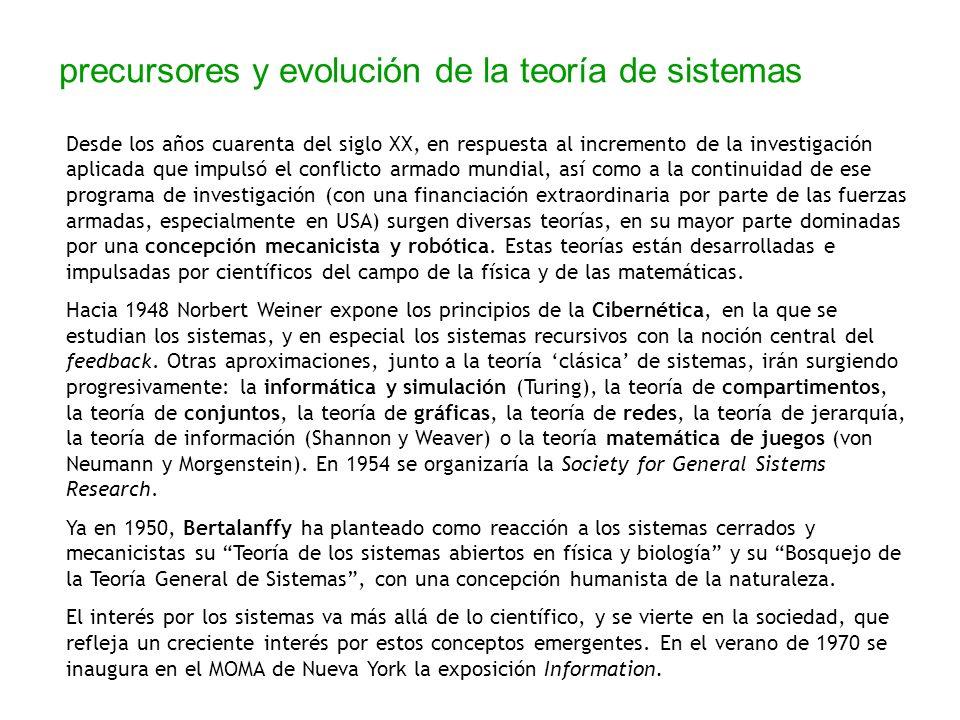 precursores y evolución de la teoría de sistemas Desde los años cuarenta del siglo XX, en respuesta al incremento de la investigación aplicada que imp
