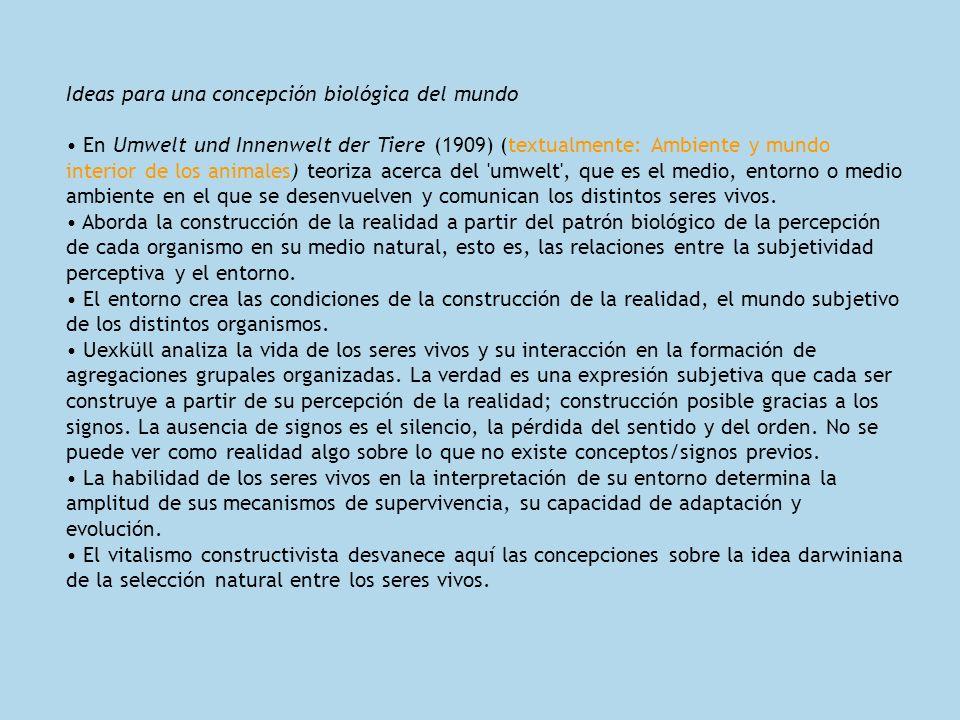 Ideas para una concepción biológica del mundo En Umwelt und Innenwelt der Tiere (1909) (textualmente: Ambiente y mundo interior de los animales) teori