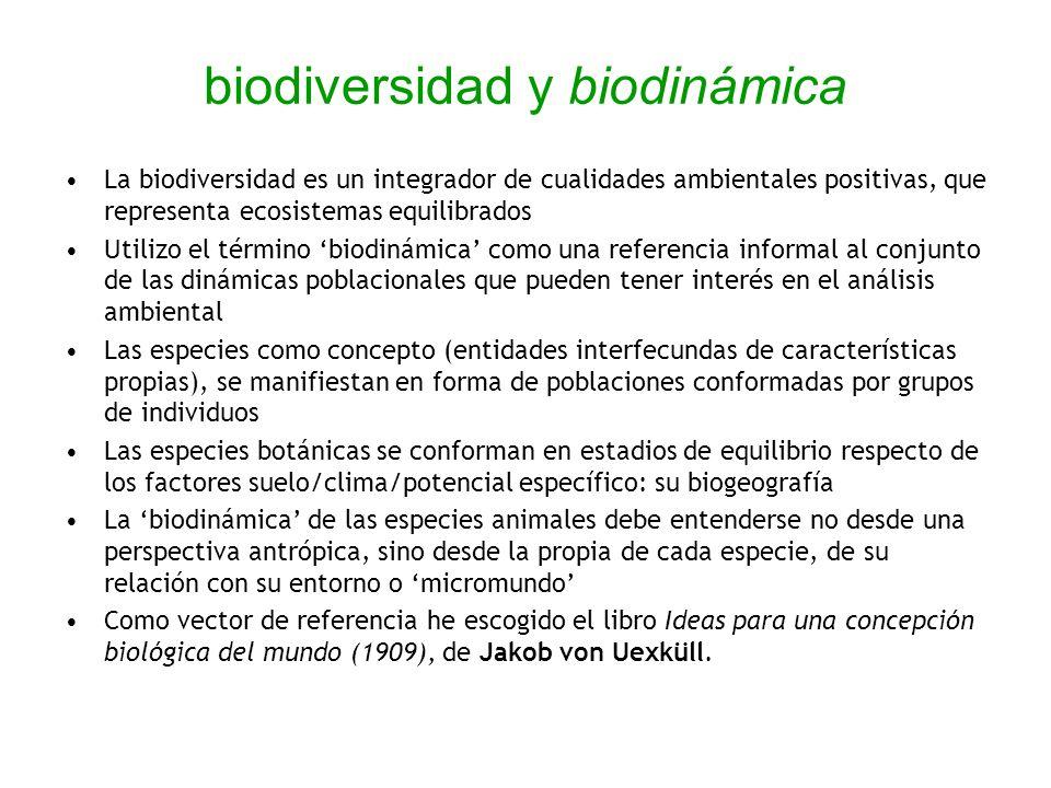 biodiversidad y biodinámica La biodiversidad es un integrador de cualidades ambientales positivas, que representa ecosistemas equilibrados Utilizo el