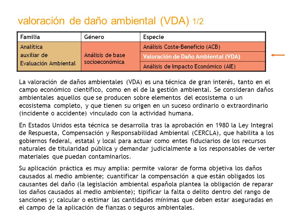 valoración de daño ambiental (VDA) 1/2 FamiliaGéneroEspecie Analítica auxiliar de Evaluación Ambiental Análisis de base socioeconómica Análisis Coste-