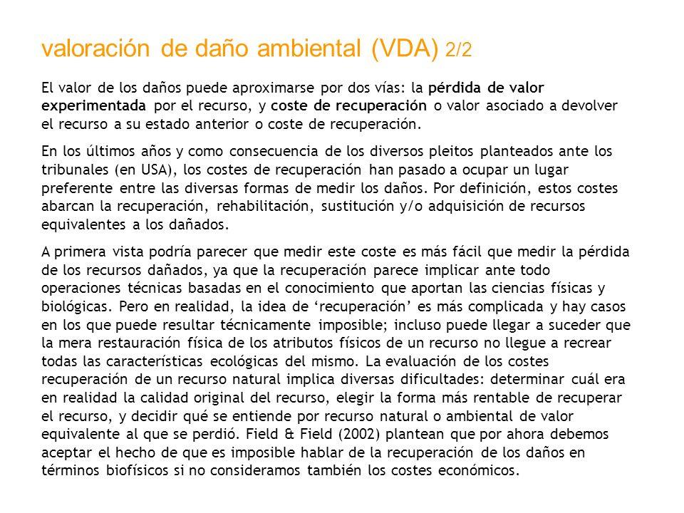 valoración de daño ambiental (VDA) 2/2 El valor de los daños puede aproximarse por dos vías: la pérdida de valor experimentada por el recurso, y coste
