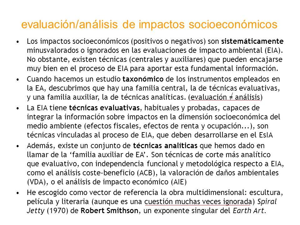 evaluación/análisis de impactos socioeconómicos Los impactos socioeconómicos (positivos o negativos) son sistemáticamente minusvalorados o ignorados e
