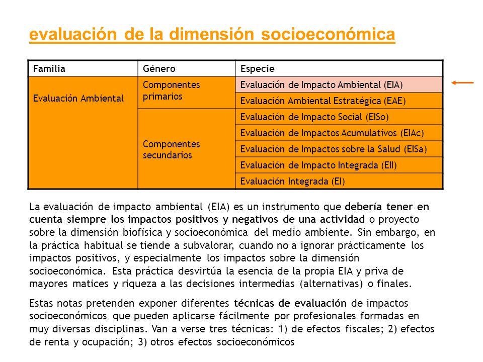 evaluación de la dimensión socioeconómica La evaluación de impacto ambiental (EIA) es un instrumento que debería tener en cuenta siempre los impactos