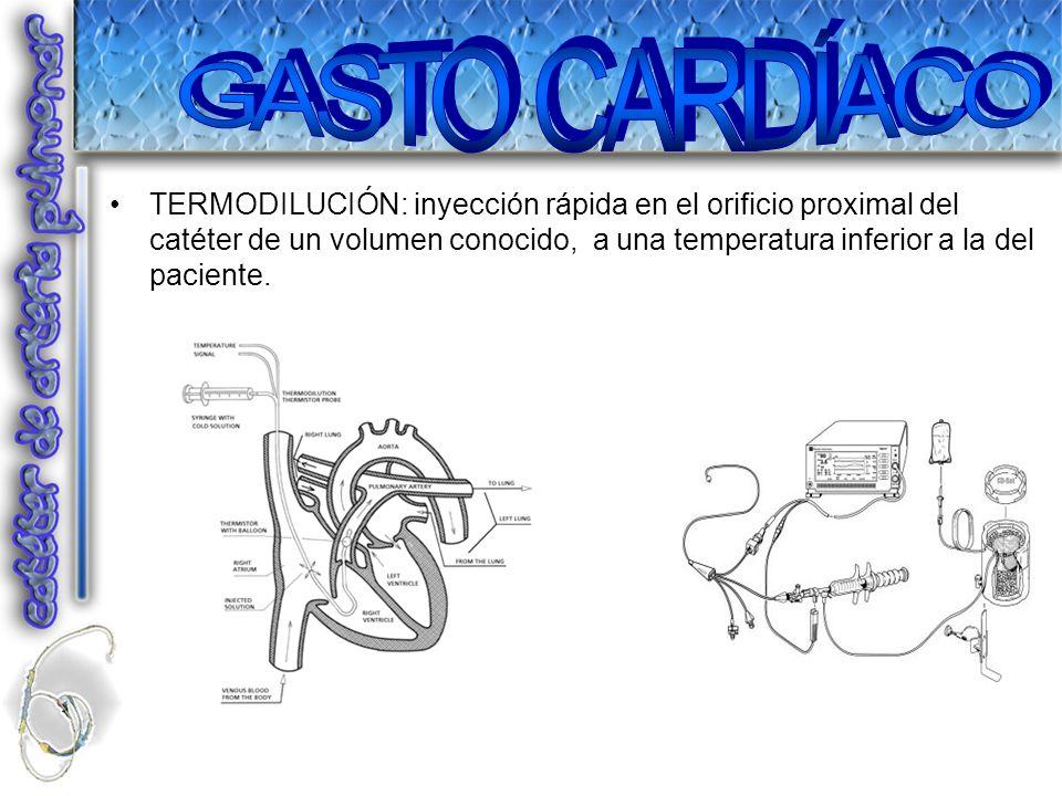 TERMODILUCIÓN: inyección rápida en el orificio proximal del catéter de un volumen conocido, a una temperatura inferior a la del paciente.