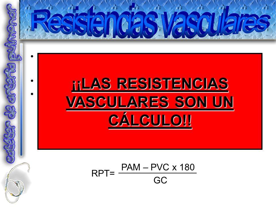 Representan el obstáculo a la circulación de la sangre en los vasos de la circulación sitémica o pulmonar. Valor MUY IMPERFECTO. Interpretación aislad
