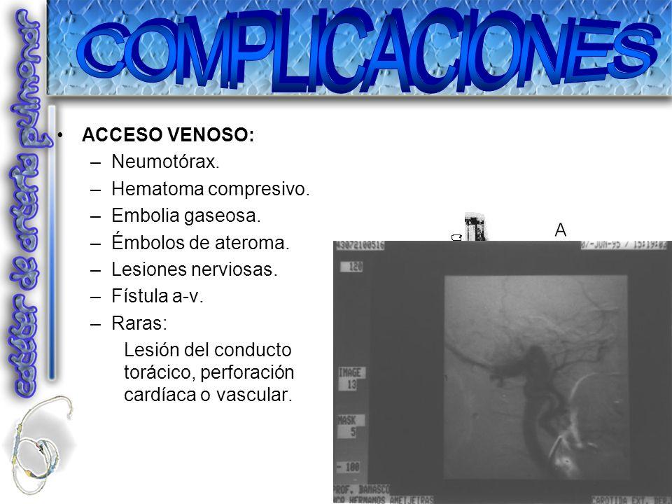 ACCESO VENOSO: –Neumotórax. –Hematoma compresivo. –Embolia gaseosa. –Émbolos de ateroma. –Lesiones nerviosas. –Fístula a-v. –Raras: Lesión del conduct