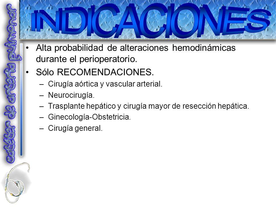 Alta probabilidad de alteraciones hemodinámicas durante el perioperatorio. Sólo RECOMENDACIONES. –Cirugía aórtica y vascular arterial. –Neurocirugía.