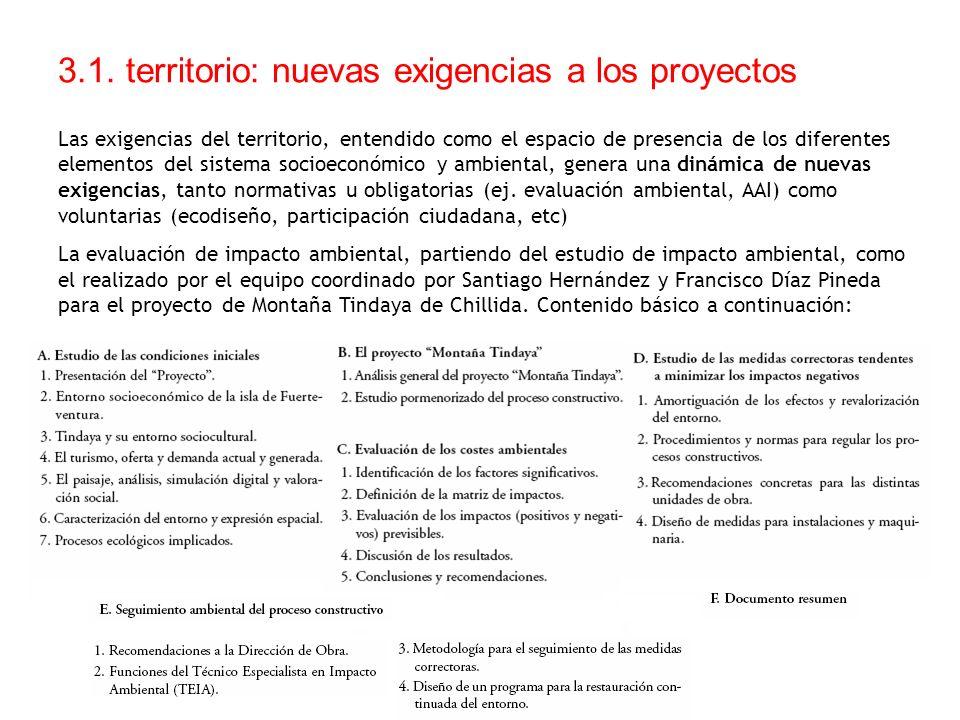 3.1. territorio: nuevas exigencias a los proyectos Las exigencias del territorio, entendido como el espacio de presencia de los diferentes elementos d