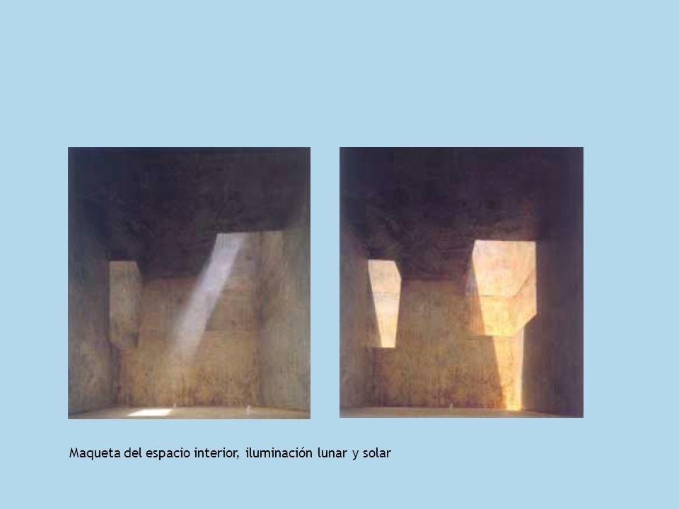 Maqueta del espacio interior, iluminación lunar y solar