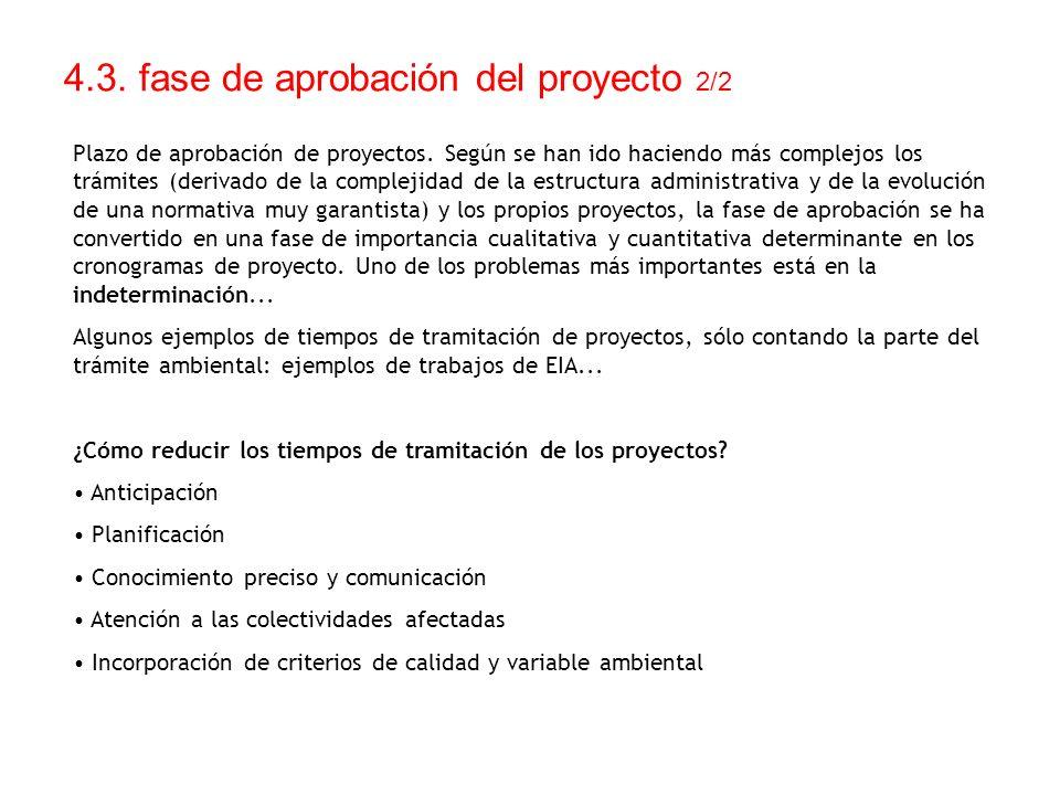 4.3. fase de aprobación del proyecto 2/2 Plazo de aprobación de proyectos. Según se han ido haciendo más complejos los trámites (derivado de la comple