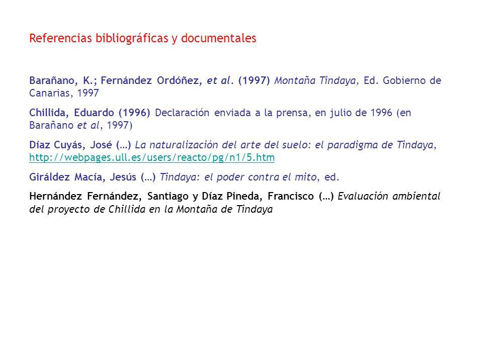 Referencias bibliográficas y documentales Barañano, K.; Fernández Ordóñez, et al. (1997) Montaña Tindaya, Ed. Gobierno de Canarias, 1997 Chillida, Edu