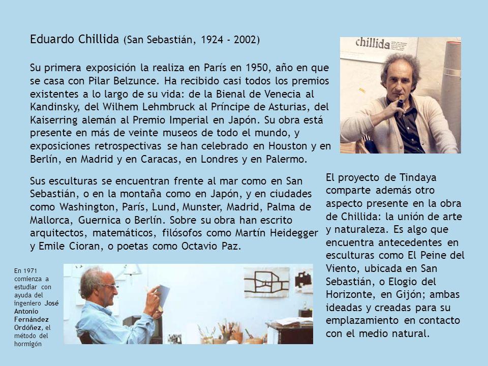 Eduardo Chillida (San Sebastián, 1924 - 2002) Su primera exposición la realiza en París en 1950, año en que se casa con Pilar Belzunce. Ha recibido ca