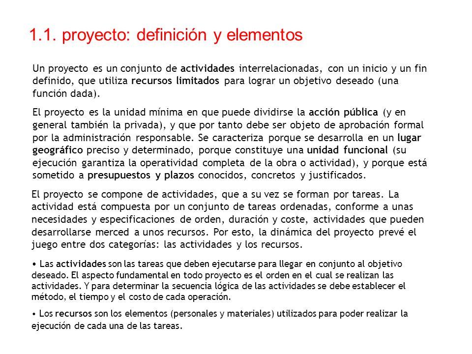 1.1. proyecto: definición y elementos Un proyecto es un conjunto de actividades interrelacionadas, con un inicio y un fin definido, que utiliza recurs